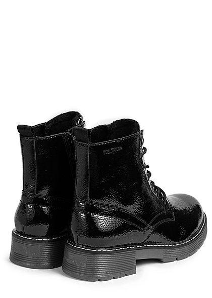 Tom Tailor Damen Schuh Worker Boots Struktur Kunstleder Halbstiefel schwarz