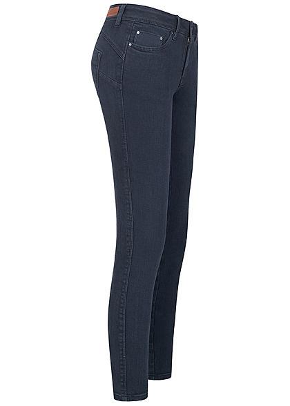 Tom Tailor Damen Ankle Skinny Jeans Hose Push-Up Effekt 5-Pockets real navy blau