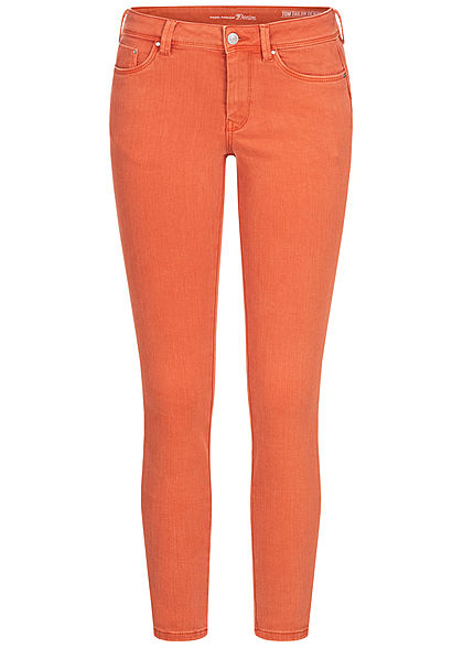 Tom Tailor Damen Ankle Skinny Jeans Hose Push-Up Effekt 5-Pockets burnt coral orange