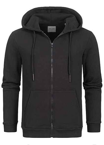 ONLY & SONS Herren NOOS Basic Zip-Hoodie Sweat Jacke Kapuze 2-Pockets schwarz - Art.-Nr.: 20104856