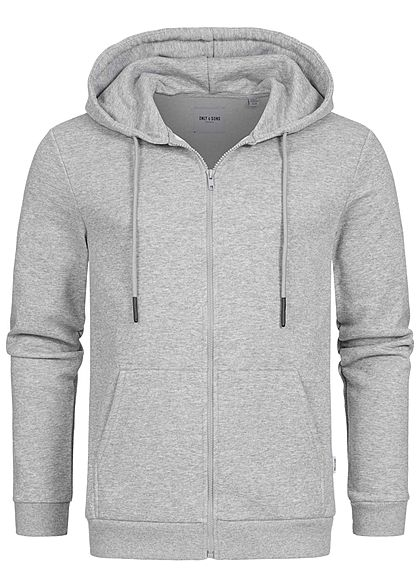 ONLY & SONS Herren NOOS Basic Zip-Hoodie Sweat Jacke Kapuze 2-Pockets hell grau - Art.-Nr.: 20104857