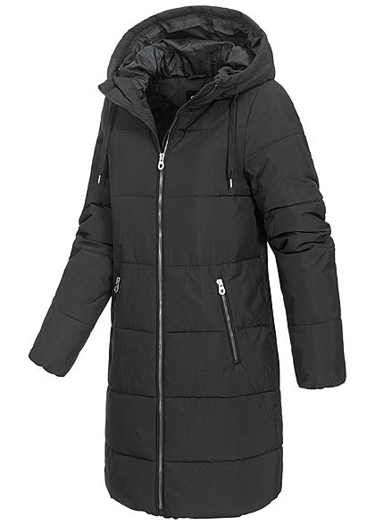 ONLY Damen langer Winter Puffermantel Steppjacke Kapuze 2-Pockets schwarz