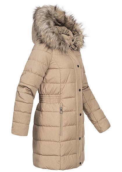 ONLY Damen Winter Steppmantel Jacke abnehmb. Kunstfellkapuze 2-Pockets humus beige