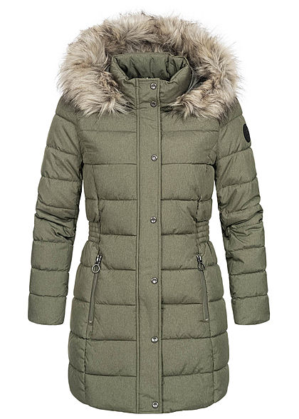 ONLY Damen Winter Steppmantel Jacke abnehmb. Kunstfellkapuze 2-Pockets deep lichen grün