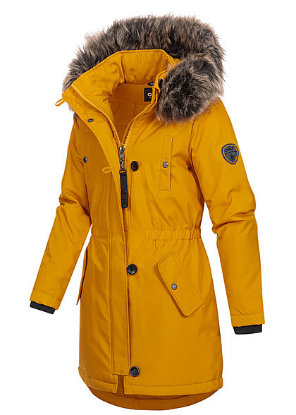 ONLY Damen Winter Parka Jacke Kapuze mit abnehmb. Kunstfell 4-Pockets golden gelb
