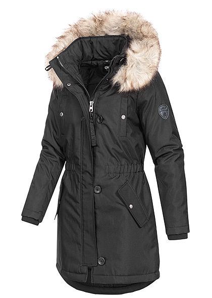 ONLY Damen Winter Parka Jacke Kapuze mit abnehmb. Kunstfell 4-Pockets schwarz
