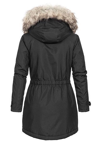 ONLY Damen langer Winterparka Jacke Kapuze abnehmb Kunstfell Taillengummibund schwarz