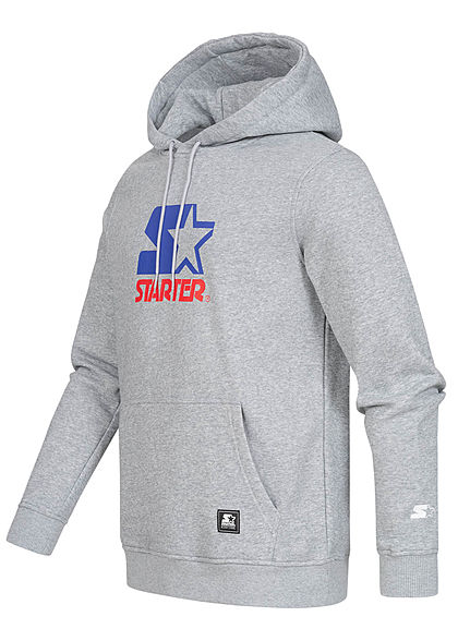 Starter Herren Hoodie 2-Tone Logo Frontprint Kängurutasche Kapuze heather hell grau