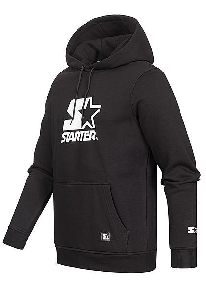 Starter Herren Classic Logo Hoodie Kapuze Kängurutasche schwarz weiss
