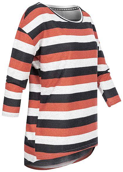 Hailys Damen 3/4 Arm Vokuhila Shirt Streifen Muster wild rosa