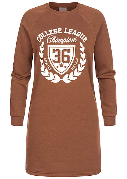 JDY by ONLY Damen Mini Sweat Kleid College League Print root beer braun weiss
