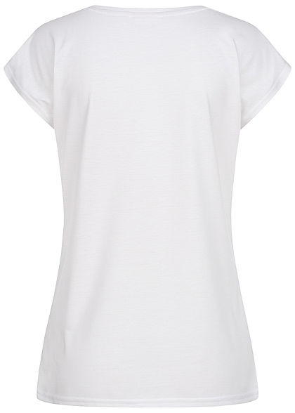 Zabaione Damen T-Shirt Yourself Pailletten Feder Print weiss gold