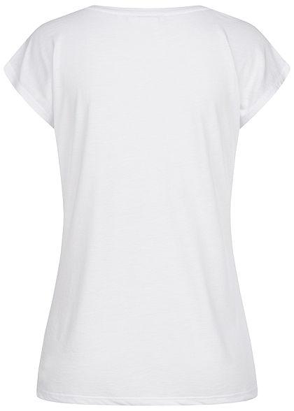 Zabaione Damen T-Shirt Simple Glitzer Federn Print weiss gold