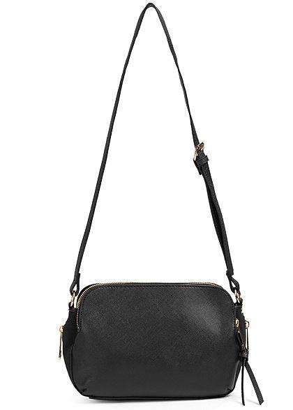 Zabaione Damen kleine Kunstleder Handtasche 4-Pocket Style mit Zipper schwarz
