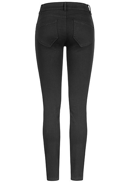 Tom Tailor Damen Skinny Jeans Hose 5-Pockets breiter Bund Regular Waist schwarz denim