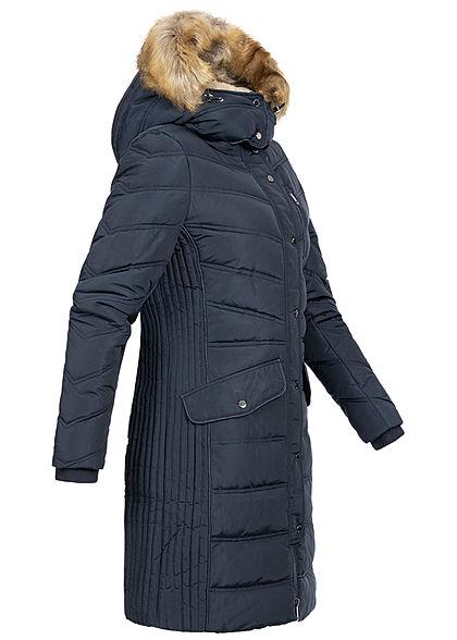 Tom Tailor Damen Winter Steppmantel Jacke abnehb. Kunstfellkapuze sky captain