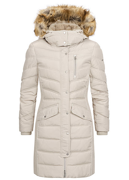 Tom Tailor Damen Winter Steppmantel Jacke abnehb. Kunstfellkapuze dusty beige