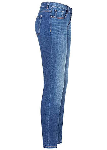 Tom Tailor Damen Slim Jeans Hose 5-Pockets Regular Waist mid stone blau denim