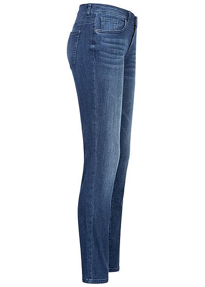 Tom Tailor Damen Skinny Jeans Hose 5-Pockets Regular Waist mid stone wash dunkel blau den