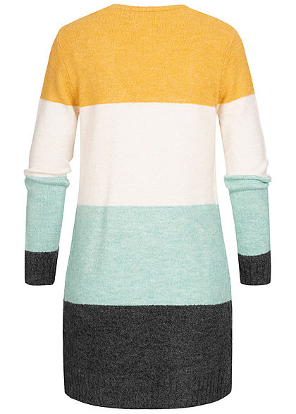 Tom Tailor Damen Colorblock Midi Cardigan Streifen Muster 2-Pockets multicolor
