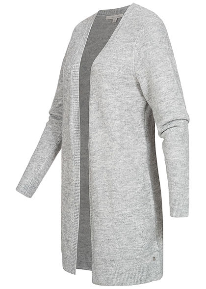Tom Tailor Damen Basic Midi Cardigan offener Schnitt 2-Pockets hell grau silber mel