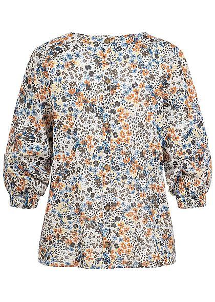Tom Tailor Damen 3/4 Arm Bluse mit Blumen Print Knopfleiste hinten beige mc