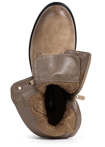 Seventyseven Lifestyle Damen Schuh Kunstleder Worker Boots Deko Zipper khaki hell braun