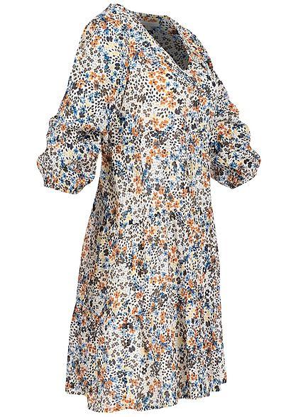Tom Tailor Damen 3/4 Arm V-Neck Puffer Kleid Blumen Print beige multicolor