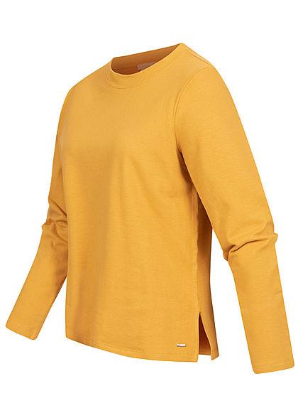 Tom Tailor Damen Longsleeve Pullover mit seitl. Schlitzen indian spice gelb