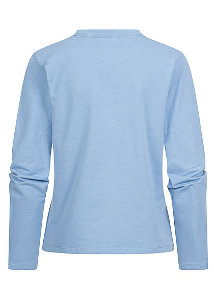 Tom Tailor Damen Longsleeve Pullover mit seitl. Schlitzen sommer blau
