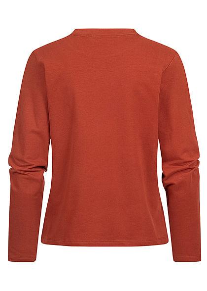 Tom Tailor Damen Longsleeve Pullover mit seitl. Schlitzen rost braun