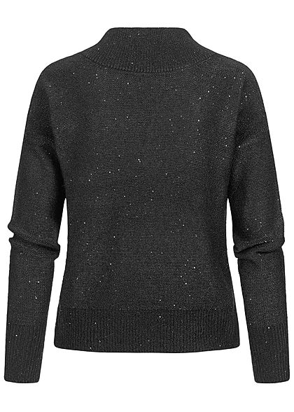 ONLY Damen V-Neck Glitter Strickpullover mit kleinen Pailletten schwarz