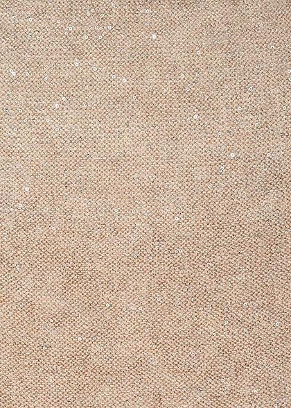 ONLY Damen V-Neck Glitter Strickpullover mit kleinen Pailletten pumice stone beige