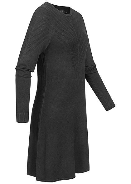ONLY Damen Viskose Strickkleid mit leichten Strukturstreifen schwarz