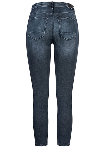 ONLY Damen NOOS Ankle Skinny Jeans Hose 5-Pockets Zipper am Beinabschluss dunkel blau den