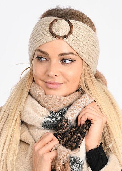 Hailys Damen Grobstrick Stirnband mit einer Schnalle beige