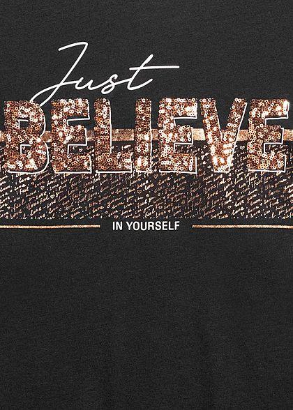Hailys Damen T-Shirt Just Believe Pailletten Print schwarz kupfer