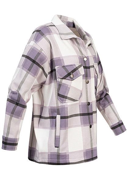 Hailys Damen Übergangsjacke Karo Muster 4-Pockets weiter Schnitt lavender lila