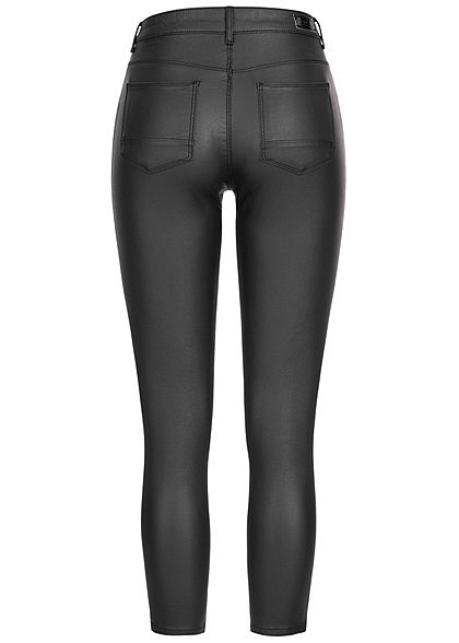 ONLY Damen Skinny Ankle Kunstleder Hose 2-Pockets Regular Waist schwarz