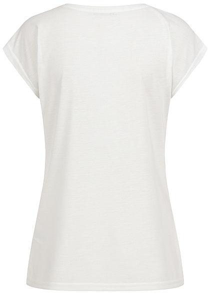 Hailys Damen Glitzer T-Shirt Love Pailletten Federn Print weiss kupfer