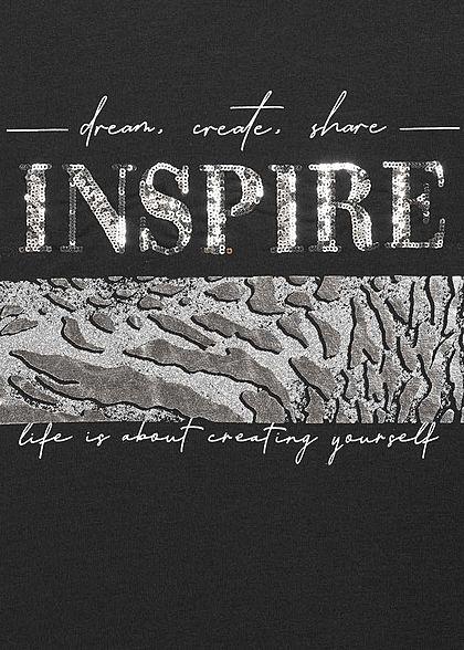 Hailys Damen Glitzer T-Shirt Inspire Pailletten Snake Print schwarz silber