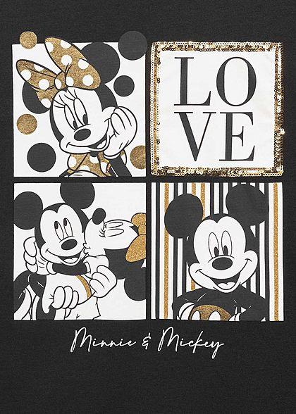 Hailys Damen Disney T-Shirt Minnie & Mickey Maus Print mit Pailletten schwarz gold weiss