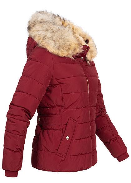 ONLY Damen kurze Steppjacke Kapuze mit abnehmb. Kunstfell 2-Pockets rhubarb bordeaux rot