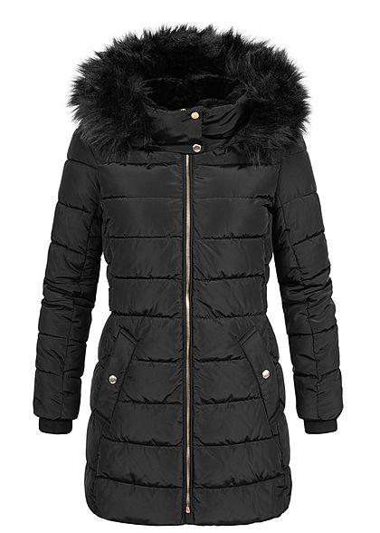 ONLY Damen Winter Steppmantel abnehmb. Kunstfellkapuze Jacke 2-Pockets schwarz