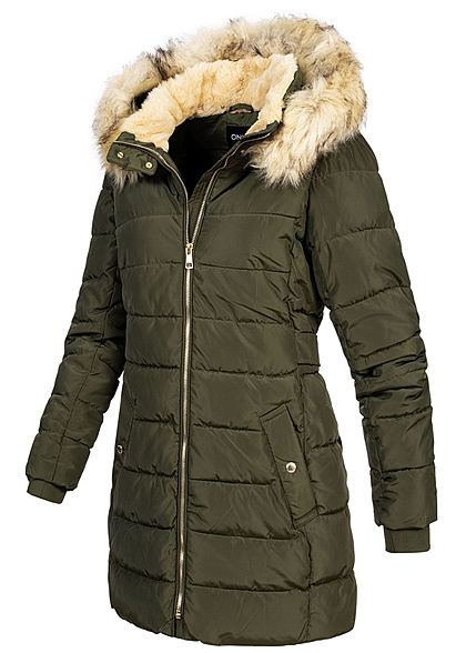 ONLY Damen Winter Steppmantel abnehmb. Kunstfellkapuze Jacke 2-Pockets forest n. oliv