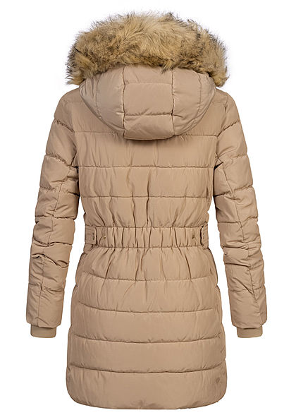 ONLY Damen Winter Steppmantel abnehmb. Kunstfellkapuze Jacke 2-Pockets humus beige