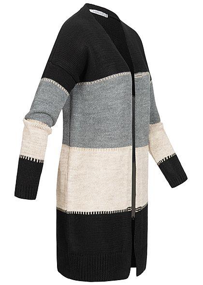 Hailys Damen Colorblock Lurex Cardigan Streifen Muster offener Schnitt schwarz grau