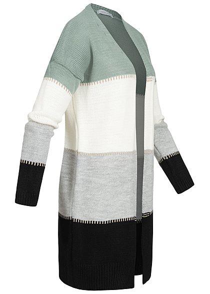 Hailys Damen Colorblock Lurex Cardigan Streifen Muster offener Schnitt jade grün grau