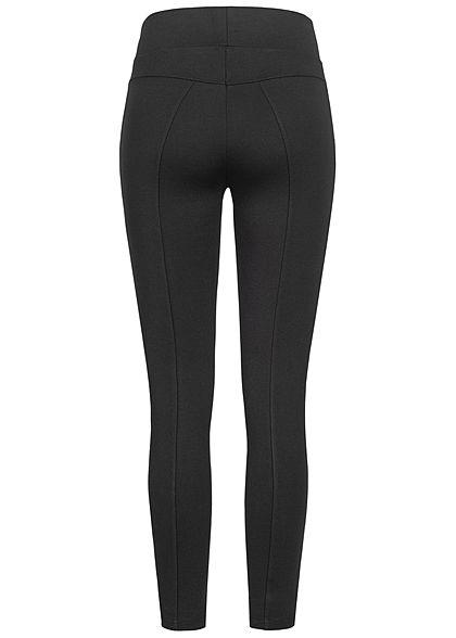 Zabaione Damen Stoffhose Leggings 2 Deko Zipper vorne breiter Gummibund schwarz
