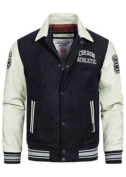 Cordon Sport Berlin Herren Lederjacke Materialmix Logo Patch 2-Pockets navy blau - Art.-Nr.: 20104963